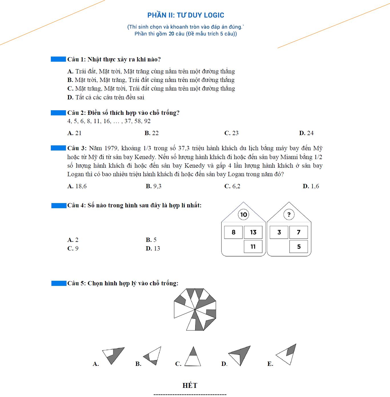Đề thi mẫu phần riêng logic